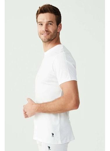U.S. Polo Assn. Erkek Yuvarlak Yaka T-Shirt Beyaz